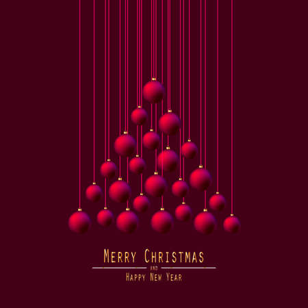 burgundy: Christmas Tree. Handing Christmas Balls. Red Balls. Merry Christmas and Happy New Year. Vector Illustration. Burgundy Background.
