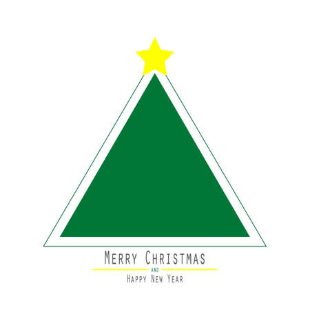 white bacground: Flat. Christmas Tree. Green Triangle. Yellow Bright Star White Bacground Illustration