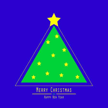 Flat. Christmas Tree. Green Triangle. Yellow Bright Star Blue Bacground Illustration