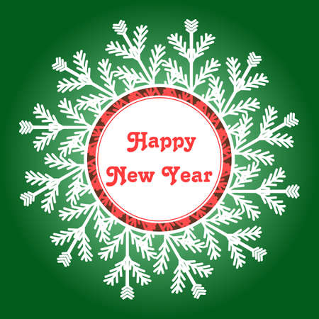 happy new year banner: Snowflake Frame. Happy New Year Card. Winter Vector Illustration