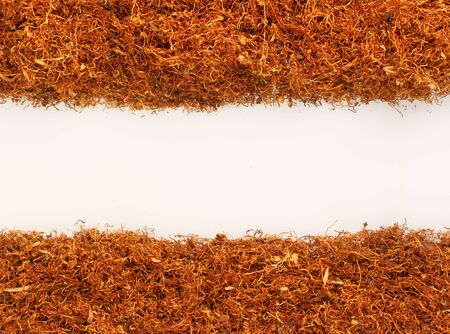 Pile of tobacco on white,with place for simple text