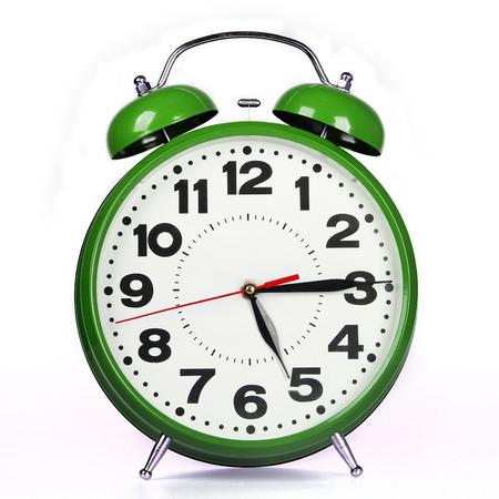 timekeeping: Green alarm clock