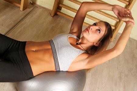 pilates ball: Fitness training with pilates ball Stock Photo
