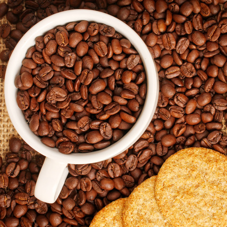 stimulated: Coffee beans in white cup with cookies