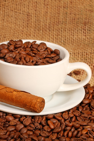 stimulated: Coffee beans and cigar
