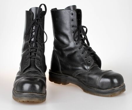 steel toe boots: Old black leather boots Stock Photo