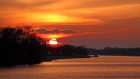 lake sunset: Lake sunset Stock Photo