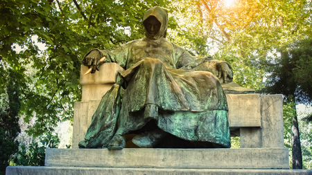 anonymus: Statue of Anonymous in Budapest,capitol of Hungary