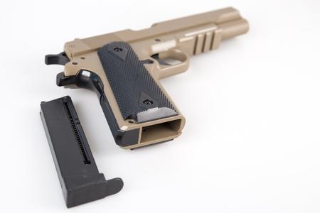 Modern air gun pistol isolated on white background