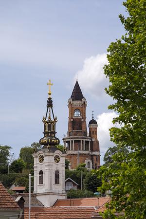 Gardos Tower and orthodox church in Zemun,Serbia