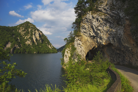 Road and tunnel along the Perucac lake in Serbia Stock Photo