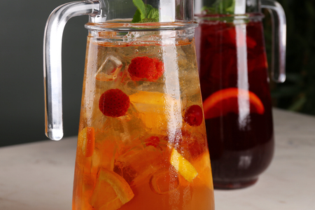 Sangria with red and white wine in a pitcher