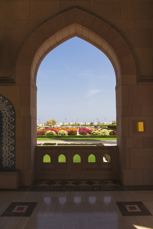View of the garden from the sultan Qaboos grand mosque,Muscat,Oman 스톡 콘텐츠