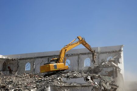 Urban renewal taking place as a building is demolished