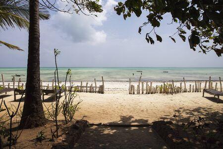 Beautiful beach in Zanzibar island,Tanzania,view from the resort