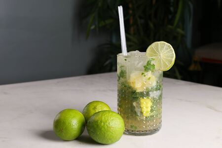 Mojito cocktail in glass,with mint and  limes
