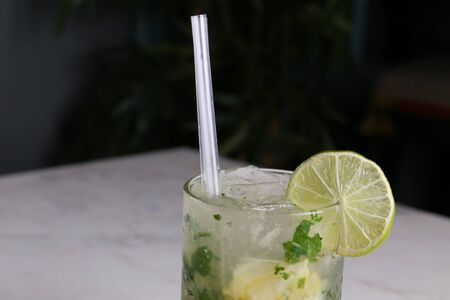 Mojito cocktail with mint and lime