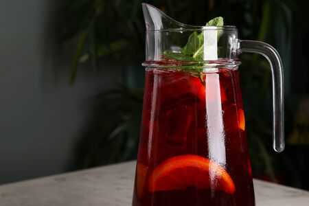 Red wine Sangria with various fruits in a pitcher 스톡 콘텐츠
