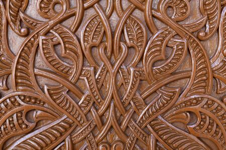 Arabic style carvings and ornaments,detail from door in Oman