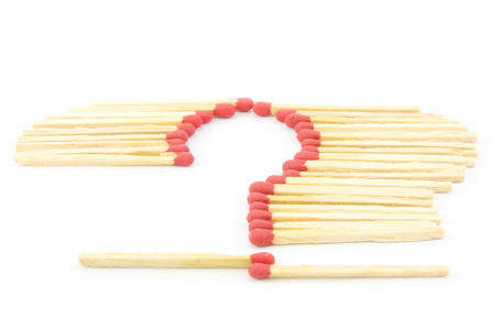 unlit: Matches in question mark sign on white background