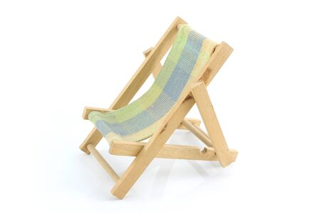 recliner: Wooden chaise lounge on a white background