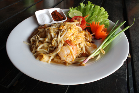 padthai: Thai noodle padthai with shrimp Stock Photo