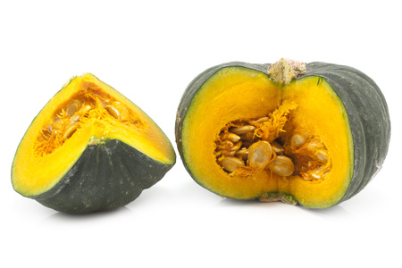 pit fall: Green Japanese pumpkin isolated on the white background
