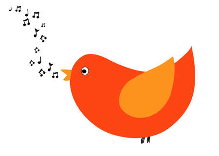 singing bird: Singing bird simple illustration