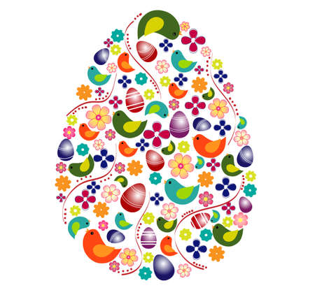 egg shape: Colorful egg shape with variety of symbols Illustration