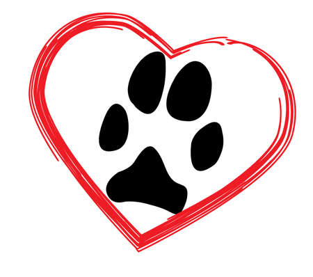 Simple dogs paw in red heart
