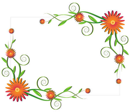 orange swirl: Floral frame with orange flowers
