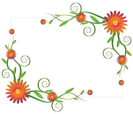 borde de flores: Marco floral con flores de color naranja