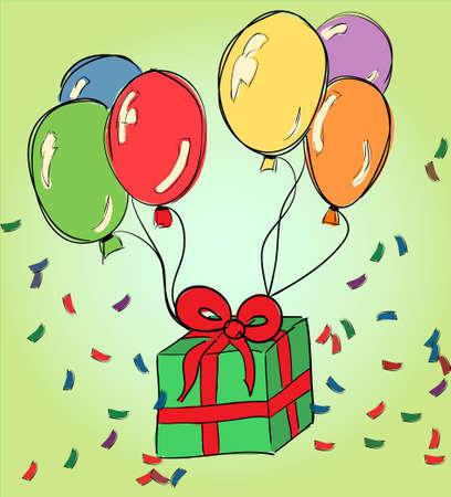 balloon drawing: Happy birthday hand drawing - celebration