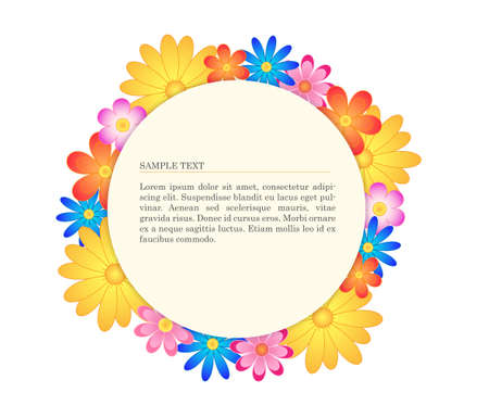 Simple circle banner with flowers Vector