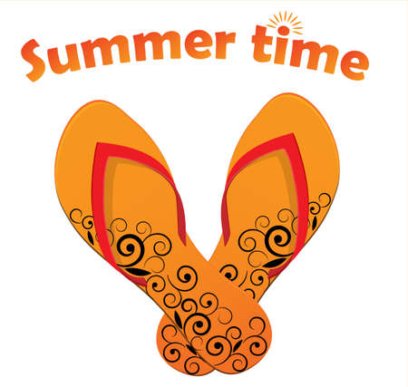 Summer time background with flip flops Vector