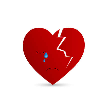 Broken heart illustration - crying Çizim
