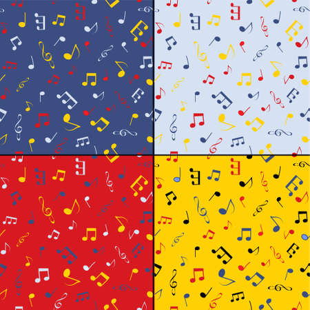 Set of four seamless backgrounds - consists of musical notes Vector