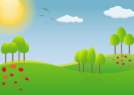 blue sky with clouds: Simple spring landscape - vector