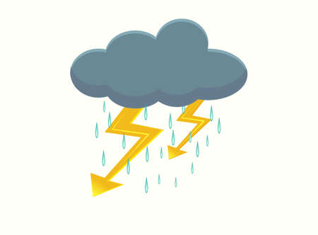 lightning storm: Storm cloud icon with thunderbolt