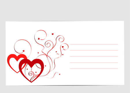love card: Nice love card with hearts and swirls Illustration