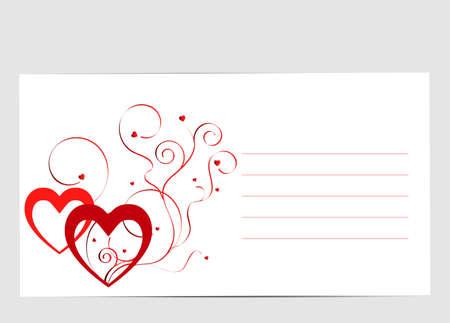 Nice love card with hearts and swirls Banco de Imagens - 42735259
