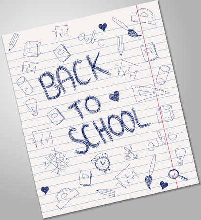 pen and paper: Back to school blue pen ink icons on sheet of paper Illustration