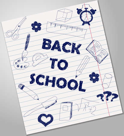 blue pen: Back to school illustration - blue pen ink on sheet of paper