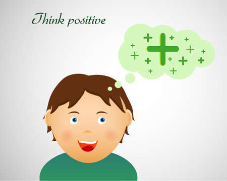 Think positive illustration with cute smiling character