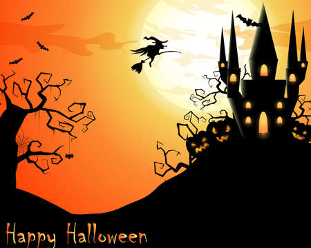 Halloween illustration with scary house and flying witch Illustration
