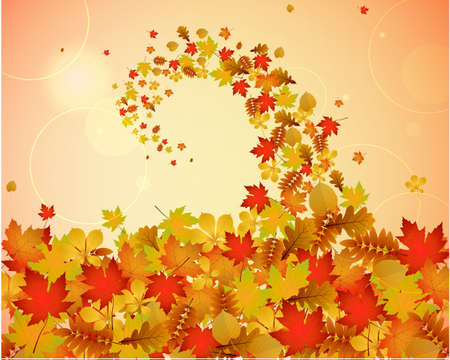 autumnal: Abstract autumnal swirly background with colorful leaves