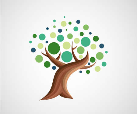 Abstract green tree simple illustration