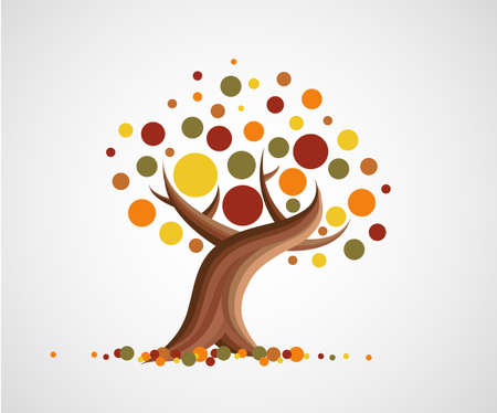 Abstract illustration of tree in autumn Ilustração