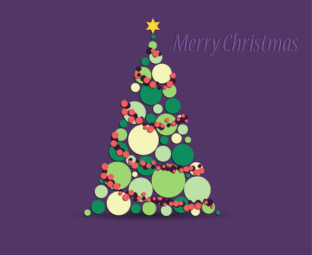 Abstrad Christmas greeting card with abstract christmas tree on purple background