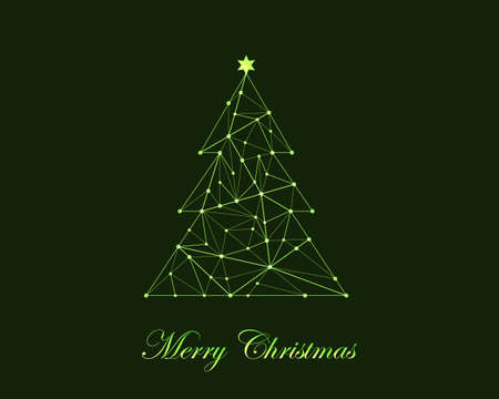 Abstract geometrical christmas tree on green background